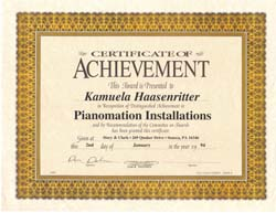 Pianomation Installation Certification